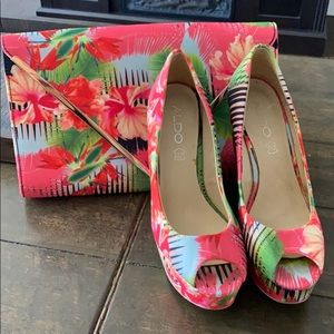 Aldo Tangelo Floral Peep Toe Wedges and Purse